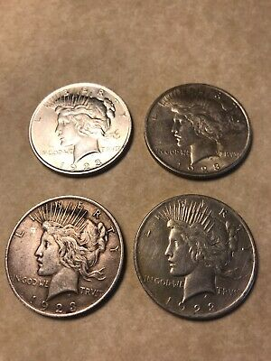 4 - 1923 US Peace Silver Dollars