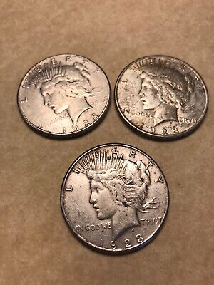 3 - 1923 S US Peace Silver Dollars