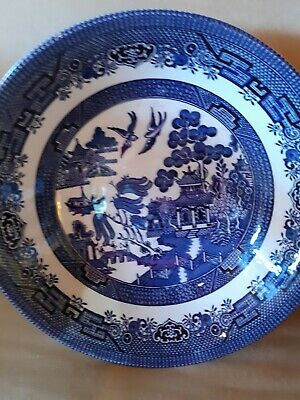 """Churchill Blue Willow Dinner Plates 10.25"""" Made in England set of 5 EXC COND"""