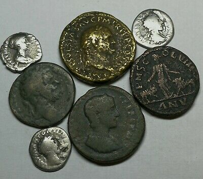 Ancient Roman Imperial Large Bronze & Silver Denar Coins LOT8 - 7 pieces