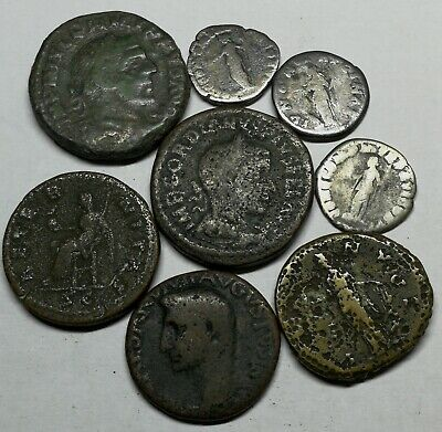 Ancient Roman Imperial Large Bronze & Silver Denar Coins LOT9 - 8 pieces