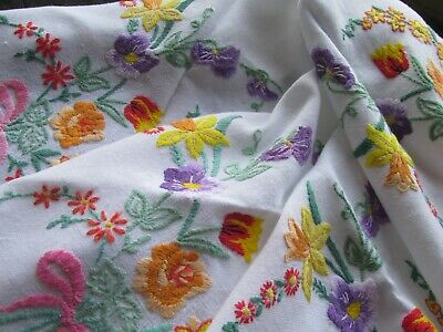 Vintage Floral Hand Embroidered Tablecloth-Pretty Spring Flowers
