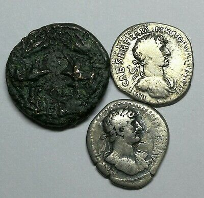 SCARCE Ancient Roman Hadrian 117-138 AD Silver & Bronze Coins LOT12 - 3 pieces