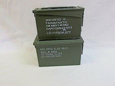 50 Cal 30 Cal Combo Pack Ammo Can Box US Army Military Ammunition Metal