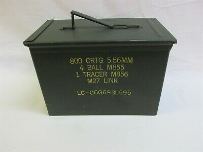 Fat 50 Cal Ammo Can Box US Military Ammunition Metal Storage Saw PA108 5.56MM