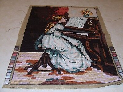 Completed Tapestry/Cross Stitch - Girl Playing Piano