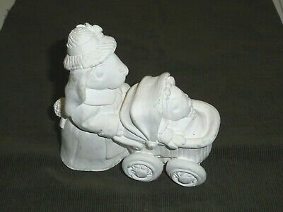 Vintage Unpainted California Creations Bunny with Baby Stroller Ready to Paint