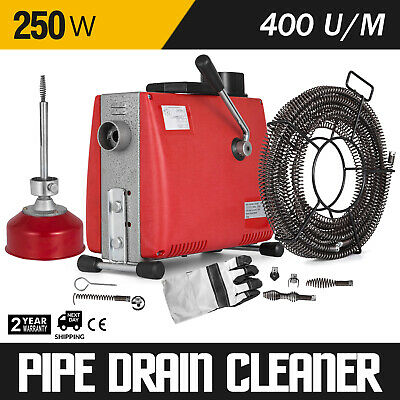 250W Electric Drain Pipe Cleaning Machine Drain Auger Cleaner w/4.5m+15m Spirals