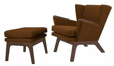 New Atomic Mid Century Danish Modern Wingback Club Lounge Accent Chair & Ottoman
