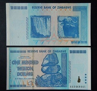 Zimbabwe 100 Trillion Dollars Aa 2008 Series P91 Uncirculated Hundred Trillion