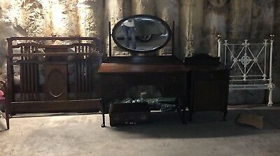 Antique Edwardian Bed, Mirror Dresser and Side Table.
