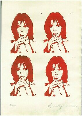 Andy Warhol Old Silk-screen - Hand signed in pencil- FOUR MICK!