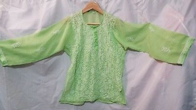 INDIAN PAKISTANI KURTI. Pistachio green, white embroidery