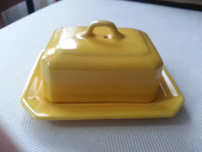 """Rare Vintage """"Mimosa"""" Empire Ware, Stoke On Trent, yellow Butter Dish with lid"""