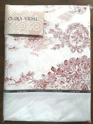 Luxury Clara Vidal Queen Soft Bordo Cotton Mix French Toile Bed Linen Sheet Set