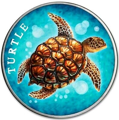 2018 1 Oz Silver $2 Niue HAWKSBILL TURTLE Coin.