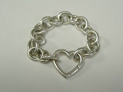 VINTAGE STERLING SILVER  AUTHENTIC  TIFFANY &Co HEART BRACELET 6.75""