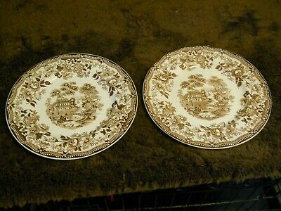 "Clarice Cliff Tonquin Royal Staffordshire England 10"" Dinner Plates Brown 2 VTG"