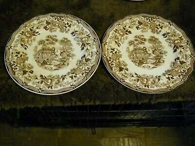 "Clarice Cliff Tonquin Royal Staffordshire England 10"" Dinner Plates 2, Brown VTG"