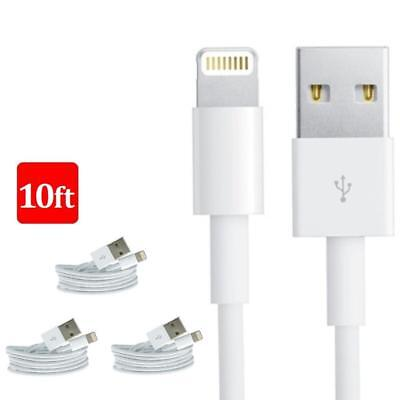 3x 10FT 3M 8 Pin USB Data Sync Charger Cable Cord For iPhone X 8 iPhone 6 5 A4