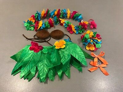 Build A Bear Outfit - Hawaiian with skirt, bra top, lei, bracelet and bows