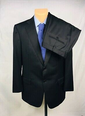 c41156d33feb7 Ermenegildo Zegna Black Striped Wool Silk 2-Btn Suit Size 44R Pants 36x31  EUC