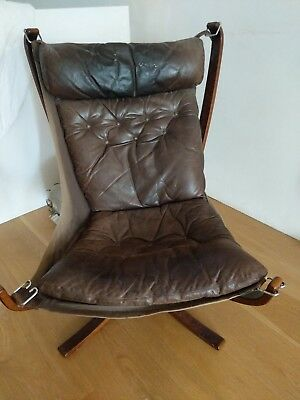 Vintage Brown Leather Falcon Chair  By Sigurd Ressell Low Back