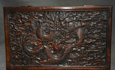 "12"" Old Chinese Huanghuali Wood Dynasty Dragon Jewelry Box Jewel Case Container"