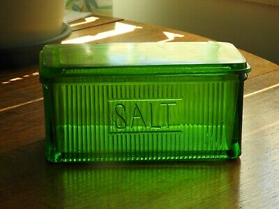 Collectable old green salt dish with lid