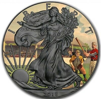 2018 $1 VINTAGE AMERICAN BASEBALL WALKING LIBERTY 1 Oz Silver Coin, Ruthenium.
