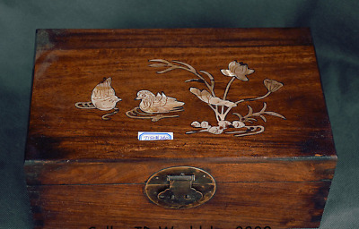 """12"""" Antique Chinese Huanghuali Wood Inlay Shell Dynasty Flower Birds Jewelry box"""