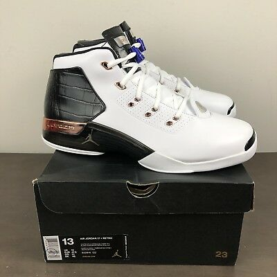 05725afd8bdf25 Nike Mens Air Jordan 17+ Retro White Metallic Copper Black 832816 122 Size  13