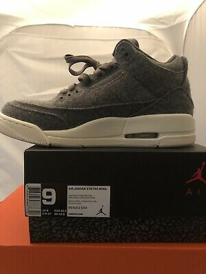 on sale 1ca56 0a53c Wore 1X Nike Air Jordan 3 Retro III Wool Dark Grey Gray Sail White Men Size