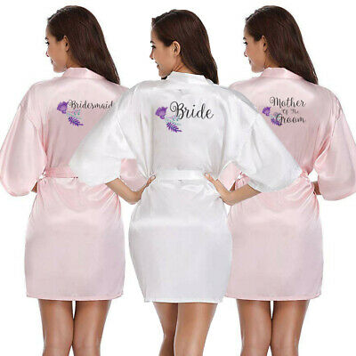 Satin Wedding Bride Robe Team Bridesmaid Maid Of Honor Mother Dressing Gown