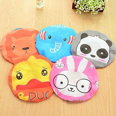 Women Cartoon Animal Shower Bath Cap Waterproof PVC Adults Bathing Cap #J