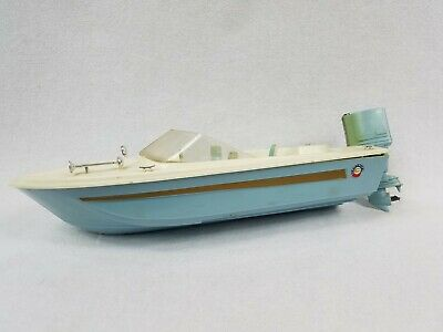Vintage Plastic Toy Boat With Battery Driven Chrylser 105 Motor