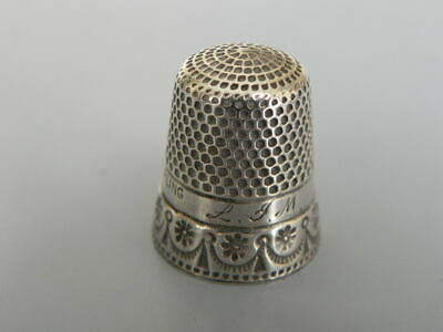 Antique Sterling Silver Thimble NEAT DESIGN Size 6