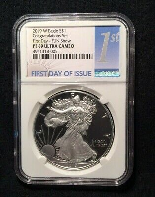 2019-W Proof $1 American Silver Eagle Congratulations Set NGC PF69UC FDI Fun Sho