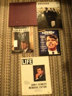 5 John (Jack) and Bobby Kennedy Rare Items, Book & Memorial Magazines