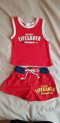 Surf Lifesaver Outfit Size 0 Red Singlet & Board shorts summer beach baby