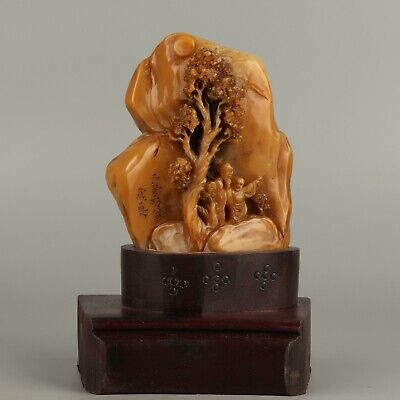Chinese Exquisite Hand-carved people landscape Carving Shoushan Stone statue