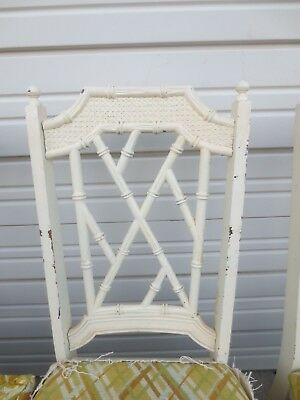 Fretwork 4 Faux Bamboo dining Chairs Chinese Chippendale Hollywood Regency Four