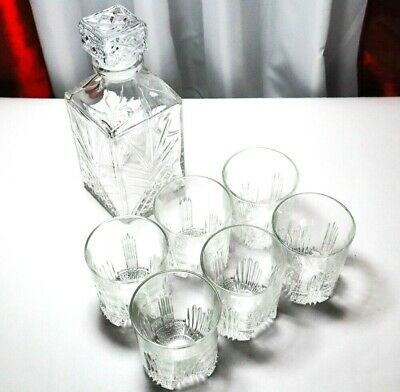 Bormioli Rocco Selecta Decanter with 6 Glasses Set 7 Pcs Italian Made