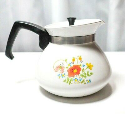 Vintage Corning Ware Tea Kettle Pot 6 Cup P-104 The Spice Of Life With Top