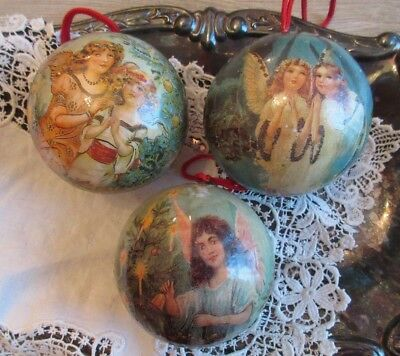Lot of 3 Vintage Paper Mache Christmas Ornaments Blue Angels Victorian Tree