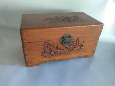 large old wooden trinket box