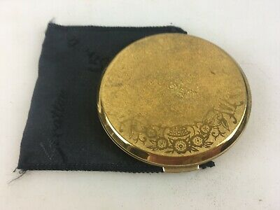 Vintage Powder Compact - Stratton England - Gold Colour - With Pouch & Paper