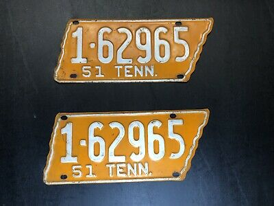 """**RARE**Pair of Tennessee Shaped """"Orange"""" License Plates 1-62965 Davidson County"""