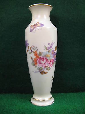 Lefton Hand Painted Porcelain Vase w/Flowers, Purple Butterfly, & Gold Trim
