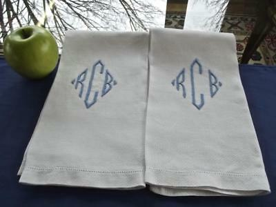 2 Antique White Irish Huck Linen Bath Face Shaving Towels Blue Monogram RCB